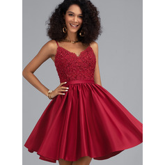 A-Line V-neck Short/Mini Satin Homecoming Dress With Beading Sequins (022203147)