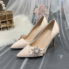 Women's Silk Like Satin Stiletto Heel With Bowknot Crystal