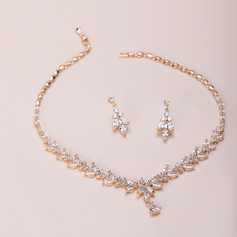 Ladies' Elegant Copper/Zircon Cubic Zirconia Jewelry Sets For Bride (011218900)