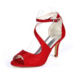 Kvinner Glitrende Glitter Stiletto Hæl Titte Tå Pumps Sandaler med Spenne Elastisk bånd