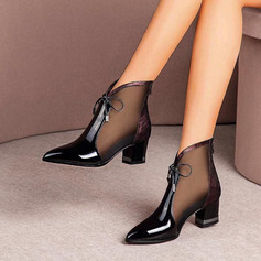 Women's Leatherette Chunky Heel Closed Toe Ankle Boots With Lace-up Hollow-out shoes