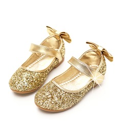 Girl's Round Toe Closed Toe Sparkling Glitter Flat Heel Flower Girl Shoes With Bowknot Sparkling Glitter Velcro