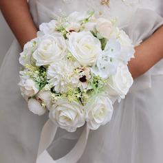 Elegant Round Silk Flower Bridal Bouquets - Bridal Bouquets (123226024)