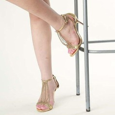 Kvinner Glitrende Glitter Stiletto Hæl Sandaler Titte Tå med Glitrende Glitter Blondér Tassel sko