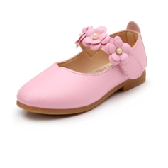 Girl's Closed Toe Leatherette Flat Heel Flats Flower Girl Shoes With Velcro Flower