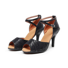 Women's Real Leather Pumps Latin With Animal Print Dance Shoes