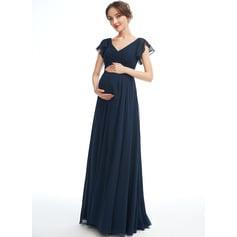 A-line kjole V-hals Gulvlengde Chiffong Brudepikekjole for Gravide med Frynse (045251916)