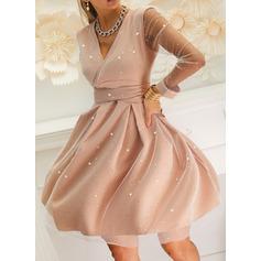 Print Sequins A-line V-Neck Long Sleeves Midi Elegant Party Skater Dresses (294255372)