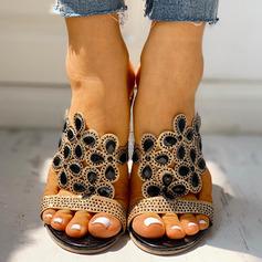 Kvinner PU Stor Hæl Sandaler Tøfler Hæle med Rhinestone sko (087236306)