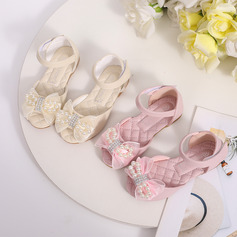 Girl's Peep Toe Microfiber Leather Low Heel Flower Girl Shoes With Beading Sequin