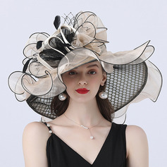 Ladies' Hottest/Romantic Organza With Silk Flower Beach/Sun Hats/Tea Party Hats (196233904)