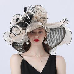 Damene ' Hotteste/Romantisk Organza med Silke blomst Strand / Sol Hatter/Tea Party Hats (196233904)
