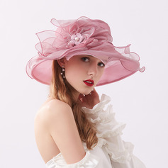 Damene ' Glamorøse/Iøynefallende Organza med Blomst Strand / Sol Hatter/Kentucky Derby Hatter/Tea Party Hats