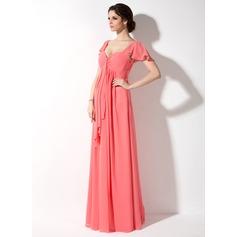 Empire Sweetheart Floor-Length Chiffon Maternity Bridesmaid Dress With Cascading Ruffles (045022461)