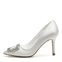 Women's Silk Stiletto Heel Closed Toe Pumps With Crystal
