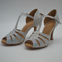 Women's Leatherette Heels Modern Jazz With Rhinestone Dance Shoes