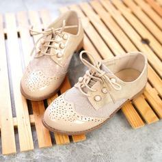Jentas Lukket Tå Leather flat Heel Flate sko med Profilering Blondér