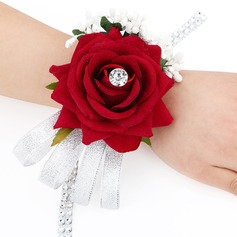 Simple And Elegant Rosy Fabric Wrist Corsage (Sold in a single piece) - Wrist Corsage