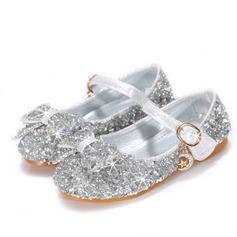 Jentas Round Toe Sparkling Glitter Flower Girl Shoes med Bowknot Crystal