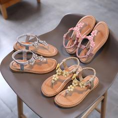 Girl's Peep Toe Sparkling Glitter Flat Heel Flower Girl Shoes With Rhinestone