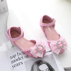 Jentas Lukket Tå Leather lav Heel Flower Girl Shoes