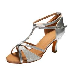 Kvinner Lær Glitrende Glitter Hæle Sandaler Latin med T-Stropp Ankel Stropp Dansesko