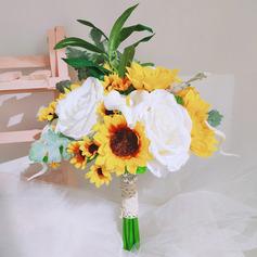 Unik Solsikker Hånd Bundet Satin/Blonder/Imitert Perle/Silke blomst/Kunstige Blomster Brude Buketter/Brudepike Buketter (som selges i et enkelt stykke) - Brude Buketter/Brudepike Buketter