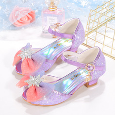Girl's Closed Toe Leatherette Low Heel Flower Girl Shoes With Bowknot