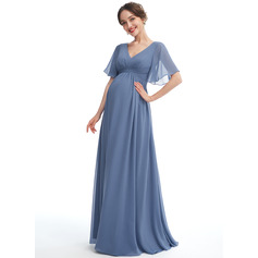 A-line V-Neck Floor-length Chiffon Maternity Bridesmaid Dress With Ruffle (045251919)