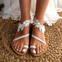 Kvinner Lær Flat Hæl Flate sko Titte Tå Sandaler med Syning Blonde (047208109)