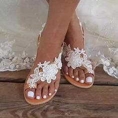 Women's PU Flat Heel Flats Sandals With Flower