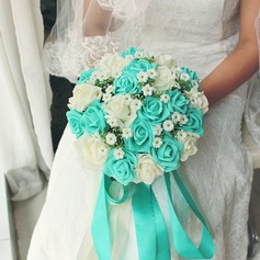 Low-key Round Satin Bridal Bouquets -