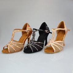 Women's Leatherette Heels Ballroom With Rhinestone Dance Shoes