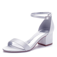 Women's Silk Like Satin Chunky Heel Peep Toe Sandals With Buckle (047234563)