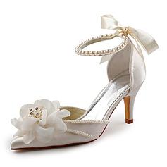 Women's Satin Stiletto Heel Closed Toe Pumps With Imitation Pearl
