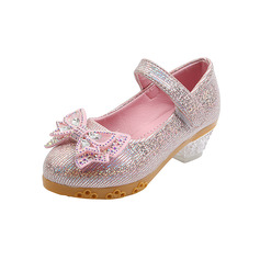 Girl's Closed Toe Sparkling Glitter Flat Heel Flower Girl Shoes With Bowknot