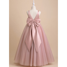 Ball-Gown/Princess Floor-length Flower Girl Dress - Tulle Sleeveless V-neck With Bow(s)/V Back (010236814)