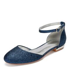 Kvinner Glitrende Glitter Flat Hæl Flate sko Sandaler med Rhinestone Paljetter Glitrende Glitter