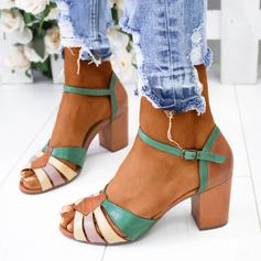 Kvinner PU Stor Hæl Sandaler Pumps Titte Tå med Spenne sko