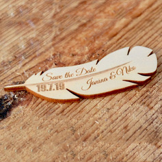 Personalized Feather Wooden Save-the-date Magnets