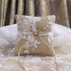 Elegant Linen Ring Pillow With Lace/Rustic Twine
