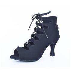 Women's Suede Heels Sandals Dance Boots Dance Shoes