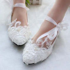Women's Patent Leather Flat Heel Closed Toe Flats With Imitation Pearl Lace-up Applique