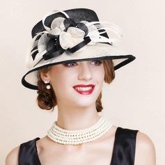 Damene ' Vakkert/Glamorøse/Elegant/Iøynefallende Cambric med Fjær Stiv / Cloche Hatt
