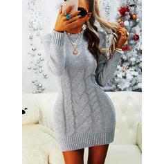 Rund hals Lange ermer Regelmessig Solid Avslappet Gensere kjoler (1002265198)