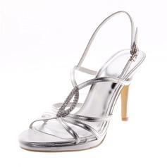 Kvinner Lær Stiletto Hæl Sandaler Pumps Titte Tå med Rhinestone sko