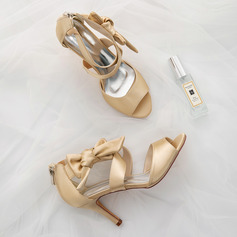 Women's Silk Like Satin Stiletto Heel Pumps Sandals With Bowknot