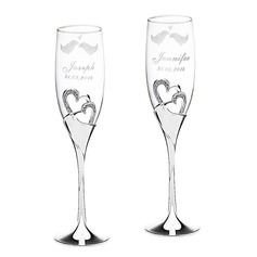 Personalized Lovely Birds Glass/Aluminum Toasting Flutes