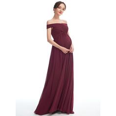 A-line kjole Bare skuldre Gulvlengde Chiffong Brudepikekjole for Gravide med Splittet Front (045251914)