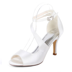 Women's Silk Like Satin Stiletto Heel Pumps Sandals With Buckle Elastic Band